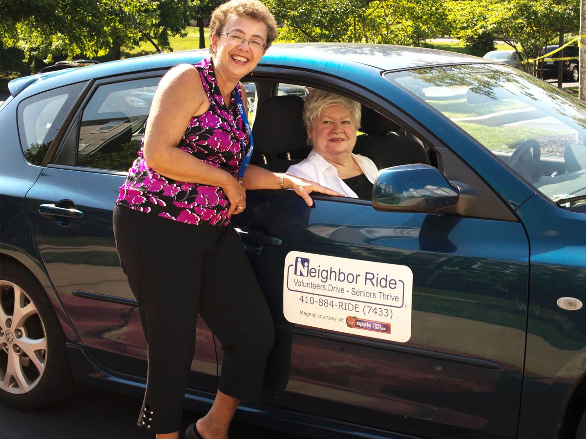 Passenger Karen Peek and Volunteer Holly Waddell